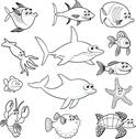 Family of funny fish. Stock Illustration