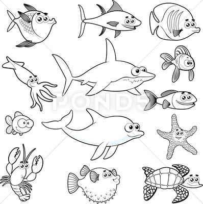 Stock Illustration of family of funny fish.