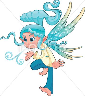 Stock Illustration of young fairy blowing a spell.