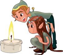 young elf with a candle. - stock illustration