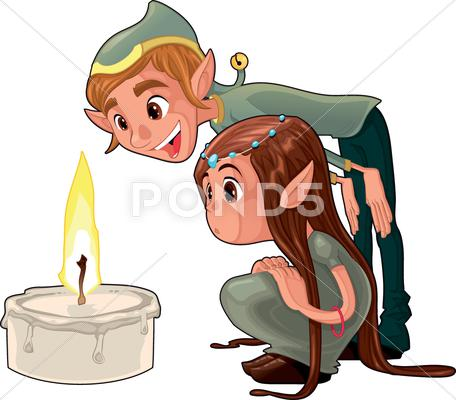 Stock Illustration of young elf with a candle.