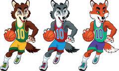 Stock Illustration of basketball mascots.