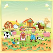 Stock Illustration of farm family.