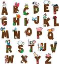 Alphabet with animals and farmers. Stock Illustration