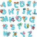 Alphabet with fish and bubbles. Stock Illustration