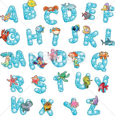 Stock Illustration of alphabet with fish and bubbles.