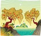 Romantic landscape on the sea. Stock Illustration