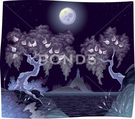 Stock Illustration of romantic landscape on the sea in the night.