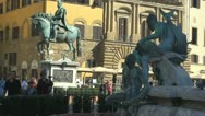 Stock Video Footage of Fountain in Florence, Italia.Neptun.Pigeon