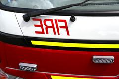 fire engine close up - stock photo