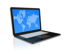 black laptop computer isolated on white with worldmap on screen - stock illustration