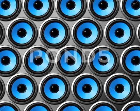 Stock photo of blue speakers wall