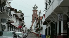 Puerto Vallarta Cathedral of Our Lady of Guadalupe road HD 3690 Stock Footage