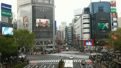 Office Buildings Shibuya Crossing Tokyo Busy Street Traffic Crowd People Walking Stock Footage