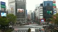 Office Buildings Shibuya Crossing Tokyo Busy Street Traffic Crowd People Walking Stock Footage
