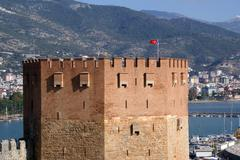 red tower and sea - stock photo