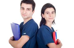 Doctors team holding folders Stock Photos