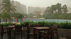 Rain storm cafe tropical luxury resort Puerto Vallarta Mexico HD 3644 Stock Footage