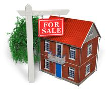 """""""For sale"""" sign in front of new house - stock illustration"""