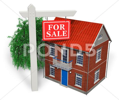 "Stock Illustration of ""For sale"" sign in front of new house"