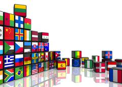Collage from cubes with flags Stock Illustration