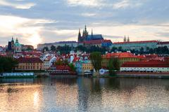 Evening Prague panorama Stock Photos