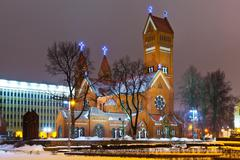 Stock Illustration of Ancient Christian church at night in Minsk, Belarus