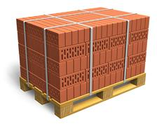 Stacked bricks on wooden shipping pallet - stock illustration