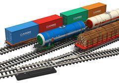 Miniature railroad models Stock Illustration