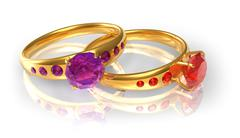 Golden wedding rings with jewels - stock illustration