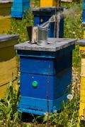 beehive and smoke - stock photo