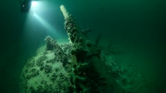 Scuba Divers Exploring Wreck Stock Footage