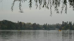 People recreating on boats, with birds flying in the foreground Stock Footage