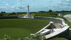 Pan across Zivy Crater Cemetery on Vimy Ridge, site of WW1 Battle Stock Footage