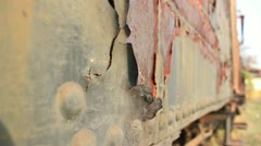 Train wreckage pull focus _1 Stock Footage