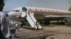PASSENGERS BOARDING Western Airline 1960 (Vintage Film Home Movie Amateur) 5618 - stock footage