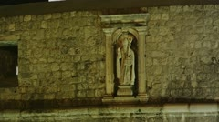 Dubrovnik walls detail night Stock Footage