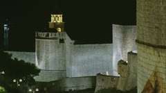 Dubrovnik walls by night Stock Footage