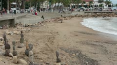 Puerto Vallarta Malecon Boardwalk beach rocks HD 3733 Stock Footage