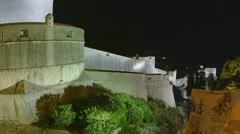 Dubrovnik old town walls by night Stock Footage