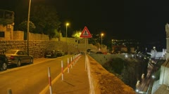 Dubrovnik old town walls by night.  Stock Footage