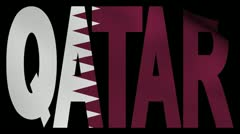 Qatar text with fluttering flag animation Stock Footage