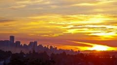 Time Lapse Wide Shot of Vancouver Downtown at Sunset times Stock Footage