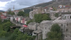 Mostar town view Stock Footage