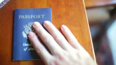 Passport pass port hand table Stock Footage