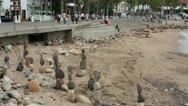 Puerto Vallarta Malecon Boardwalk beach balance rocks HD 3732 Stock Footage