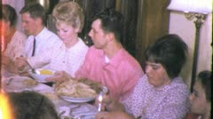 FAMILY at TABLE Thanksgiving Dinner Meal 1970s (Vintage Film Home Movie) 5620 - stock footage