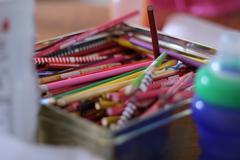 Pencil crayons Stock Photos