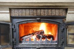 home fireplace - stock photo