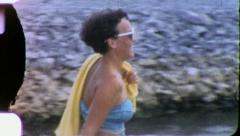 BATHING SUIT Women on Vacation 1965 (Vintage Old Film Home Movie) 5630 Stock Footage